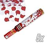 HausderHerzen.de Herz Konfetti Shooter 50 cm ! Popper Kanone Konfettikanone Weisse Herzen und Rosenblätter - 5 Stück