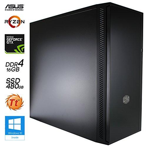 SNOGARD AMD RYZEN Ultra Gaming / Multimedia COMPUTER   Octa-Core! AMD-Ryzen 7 1700 8x 3000MHz Sockel AM4   16192MB DDR4   480GB SSD   8GB NVIDIA GeForce GTX1080 PCIe Overclocked mit DirectX12 Technology   USB3   ASUS Mainboard   Dual Layer DVD-Brenner   7+ USB-Anschlüsse   Spiele PC