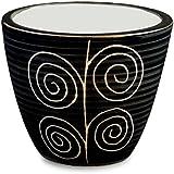 HOMESCAPES Mini Ceramic Pot, Rangoli Black