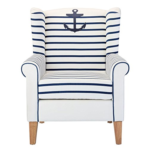 miaVILLA Sessel Anker Ohrensessel Maritim Weiß Blau Gestreift