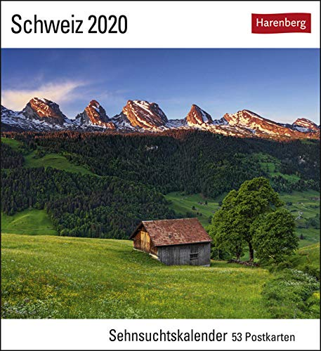 Sehnsuchtskalender Schweiz - Kalender 2020 - Harenberg-Verlag - Postkartenkalender mit 53 heraustrennbaren Postkarten - 16 cm x 17,5 cm