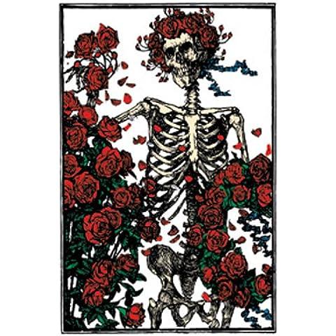 GRATEFUL AGRADECIDO DEAD Skeleton Esqueleto and Roses GDP Inc. MAGNET,IMÁN Officially Oficialmente Licensed Autorizado Products Classic Rock Artwork ilustraciones 2