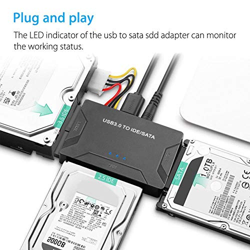 SUNDELLAO Newly USB 3.0 to IDE SATA Converter External Hard Drive Adapter Kit 2.5