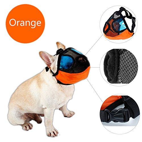 Delifur Maulkorb für Hunde Pet Mund Maske Anti Bellen und Beißen Mesh Schnauzen für Snub Nose Hund Mops pekinses Pitbull Boston Terrier Shih TZU, M, Orange -