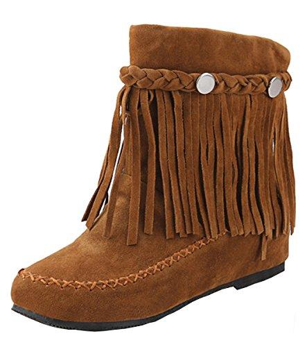 YE Damen Herbst Flache Wildleder Retro Stiefeletten mit Fransen Nieten Casual Short Ankle Boots Schuhe