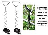 Izzy 2er-Set Trampolinanker, Länge: 35 cm, Gewicht: 320 g, aus Metall, mit Gurtband zum Befestigen am Rahmen, Erdanker, Bodenanker, Sport