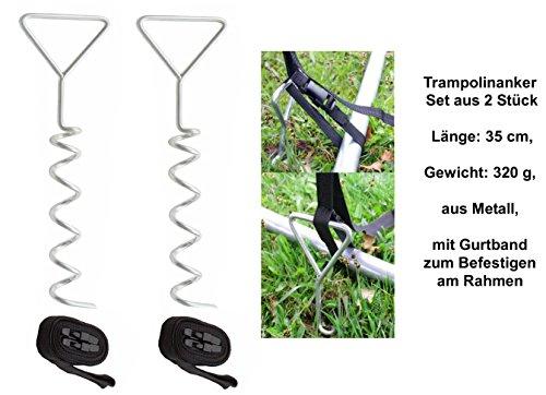 2er-Set Trampolinanker, Länge: 35 cm, Gewicht: 320 g, aus Metall, mit Gurtband zum Befestigen am...