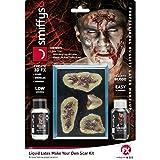 NET TOYS Zombie Schminkset Narben mit Flüssiglatex und Blut Halloween Latexmilch Make Up Fleischwunde