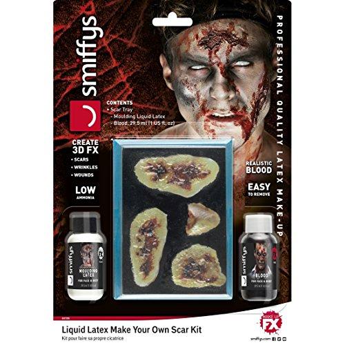 NET TOYS Zombie Schminkset Narben mit Flüssiglatex und Blut Halloween Latexmilch Make Up...