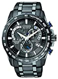 Citizen Mens Eco-Drive Chronograph Watch with a Dial and Stainless Steel Bracelet AT4007-54E - Black