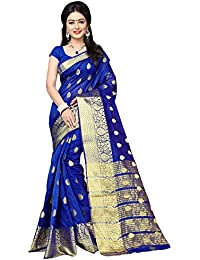 Women's Blue Colour Banarasi Silk Designer Weaving Saree By Brand Manvaa