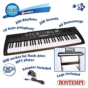 Bontempi 16 6125 Instrumento Musical de Juguete Piano Juguete Musical - Juguetes Musicales (Instrumento Musical de Juguete, Piano, Niño/niña, Digital,, Batería)