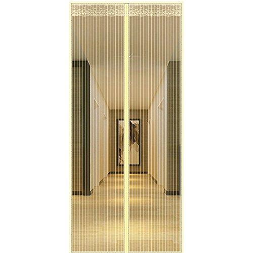 Yunjie tenda zanzariera magnetica,full frame velcro tenda a maglia pesante duro e resistente fibra di poliestere porta finestra porta del cortile porta del balcone-beige 100x210cm(39x83inch)