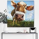 Künstler handgefertigt modernes Wandbild Bild auf Leinwand Art Wand Kuh Aufhängen Gemälde abstrakt Pop Art Tiere Öl Gemälde Landschaft, 32x32inch