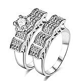 AMDXD Doppelring Set Versilbert Damen Ring Zirkonia Bogen Quadrat Breit Ehering Silber Größe 60