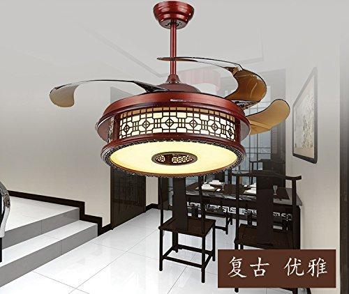 Antik Weiß Deckenventilator (MOMO Personalisierte dekorative Beleuchtung Restaurant Wohnzimmer, chinesische unsichtbare Deckenventilator, Retro Antik Deckenventilator, Home Schlafzimmer, einfach mit Led Fan Lampe, 108 * 58Cm)