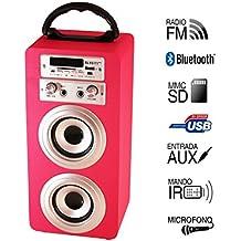 Altavoz Portátil Karaoke con Bluetooth USB SD Micrófono Radio (rosa)