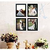 Painting Mantra Acrylic Art Street Individual Couple Photo Frame (Black) - Set Of 4