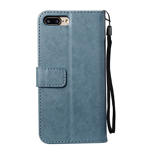Custodia iPhone 7 Plus, ISAKEN Custodia iPhone 7 Plus, iPhone 7 Plus Flip Cover con Strap, Elegante borsa Cranio Design in Sintetica Ecopelle Sbalzato PU Pelle Protettiva Portafoglio Case Cover per Ap Cranio: blu