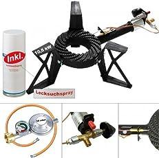 CAGO 3-Bein Hockerkocher 10,5 kW Gasbrenner Gaskocher mit Zündsicherung Piezozündung Gasschlauch Gasregler mit Manometer Lecksuchspray