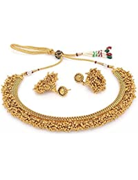 Shining Diva Jewelry Gold Plated Fancy Party Wear Necklace For Women Traditional Jewellery Set With Earrings For...