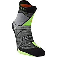 Hilly Men's Ultra Marathon Fresh Running Socks-Black/Grey/Lime Green, X-Large