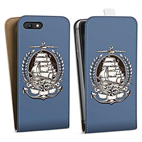 Apple iPhone X Silikon Hülle Case Schutzhülle Schiff Meer Seefahrer Downflip Tasche weiß