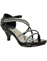 Sandales/escarpins à petit talon - brides avec brillants/strass - mariage/soirée