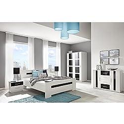 JUSTyou Presto Conjunto dormitorio habitación de matrimonio Blanco Negro