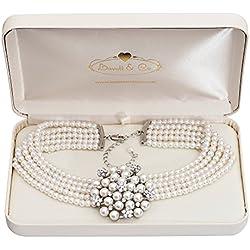 Collier Crème Audrey Hepburn Perles avec Boîte-Cadeau