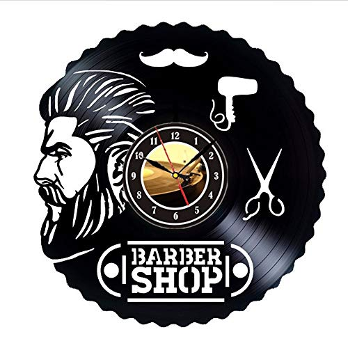 Barber Shop Tools Vinyl Record Wall Clock Gift Idea for Hairdressers Stylists Barbers Hair Stylists The Wall Clock