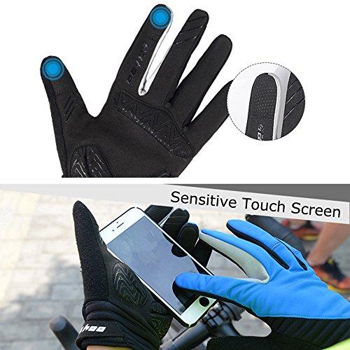 Winter Radfahren Handschuhe, Winddicht Smartphone Touchscreen Schock Beweis EVA Pad Rutschfeste Silikon Handschuhe w Klettverschluss Vollfinger Fahrrad Motorrad Outdoor - 4