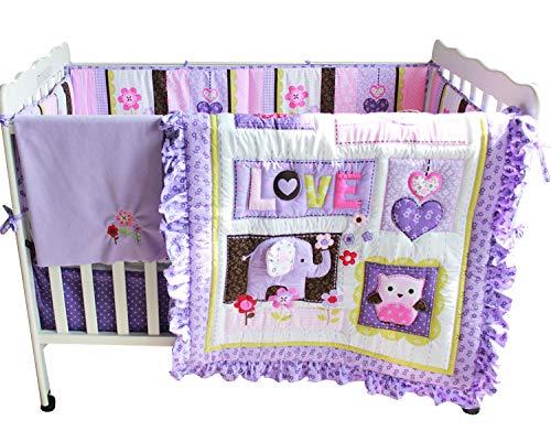 F.C.L Baby Mädchen Bettwäsche-Set mit Nestchen, Violett, 8-teilig (Vollständige Bettwäsche Mädchen)