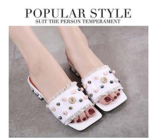 Neu Art Quadratische Zehe Offener Zeh Chunky Ferse Slipper Mode All-Match Perle Quaste Niedrige Ferse Schuhe Black