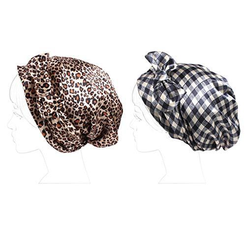 CADANIA Frauen Satin Chemo Hut Sleeping Hair Wrap Turban Multifunktionale Kopfbedeckung Cap Leopard + Blue Plaid Satin Hair Wrap
