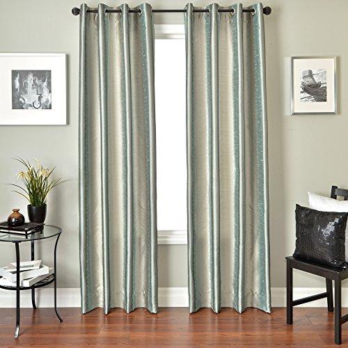 Softline Home Fashions Fantasy Serie Kunstseide Fenster Panel/Behandlung/Fall/Vorhang, Ice Blue/Platinum, 55 x 96 Inches (Vorhang-panel 96 Zoll)