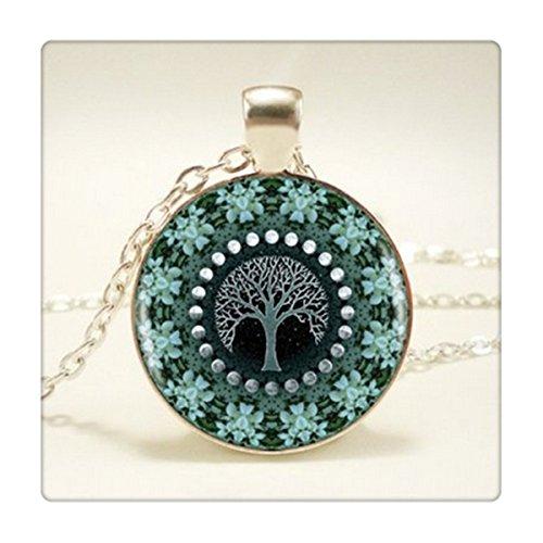 Bosque Flor Mandala Arte de imagen vintage collar de plata joya de la mujer