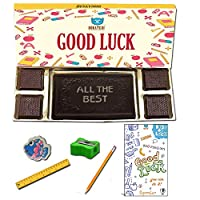 BOGATCHI Good Luck Chocolate Gift for Exams, Dark Chocolae Bar + 4pcs Dark Chocolate + Free All The Best Card + Exam Kit for Kids