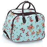 LeahWard® Große Größe Reisetasche Gepäck Reisetasche mit Rad (L.blau Schmetterling)