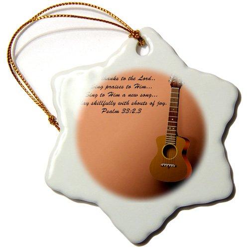 Ornamente Weihnachten Gitarre (3drose Orn _ 22654_ 1Classic Gitarre und Bibel Vers Singen eine neue song-snowflake zu der Herr Ornament, 3Zoll, Porzellan)