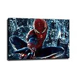 Spiderman Bild auf Leinwand - 100 x 70 cm - Fertig gerahmte Kunstdruck Bilder als Wandbild - Billiger als Ölbild Gemälde - KEIN Poster oder Plakat