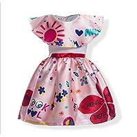 FXFAN Vestido de Encaje de Flores Niña Vestido de Fiesta de Color Rosa Niños se Visten de 2 a 12 Años ZHANGM (Color : Rosado, Tamaño : 130)