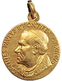 Medalla de Santo Papa Juan Pablo II (Papa Wojtyla) de Plata Maciza 925 - Chapado en Oro
