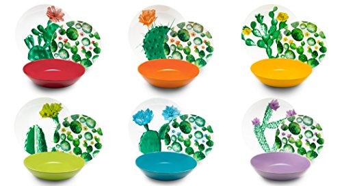 Excelsa Color Cactus Servizio Piatti 18 Pezzi, Porcellana