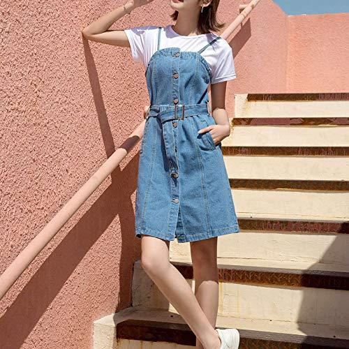 Belted Jeans Spandex (ZCFDPP Kleiden Vintage A-Line Frauen Strap Denim Kleid Weibliche Einreiher Taschen Belted Backless Jeans Kleider Sommer L Denim Blau)