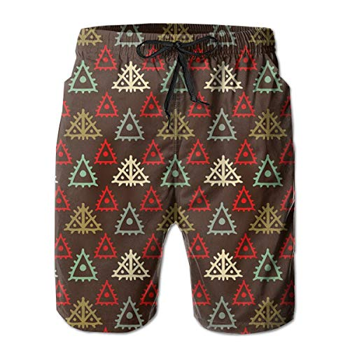American Folk-flag (Men Swim Trunks Beach Shorts,Native American Aztec Folk Triangle Pattern Folk Style Funky Boho Tribal Art Print Multicolor,Quick Dry 3D Printed Drawstring Casual Summer Surfing Board shorts XXL)