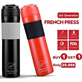 Virtue 350ML 3-Gen French Press Plastic Coffee Pot Cafetiere Outdoor Easy CarFrench Press With Filter Insulation Design Tea Bottle: Black And Red
