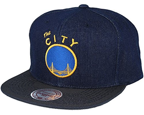 Mitchell & Ness Raw Denim Warriors Cap Snapback Baseballcap Flat Brim NBA Golden State Basecap Kappe Cap Basecap (One Size - denim)