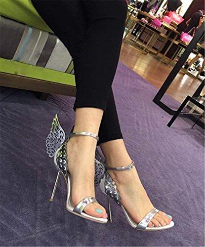 Wealsex Sandales Escarpins Cuir Vernie avec Ailes de papillon Boucles Talon Dorée Haute Aiguille Cheville Bout Ouvert Chaussure Talon Sexy Ete Femmes Argent