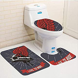 Modern Live to Ride Quote and Helmet with Wings Motorcycle Lover Grunge Illustration Charcoal Grey Red Bathroom Carpet Rug,Non-Slip 3 Piece Bathroom Mat Set